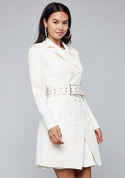 bebe Knit Sleeve Trench Coat