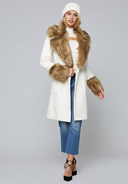 bebe Faux Fur Trimmed Coat
