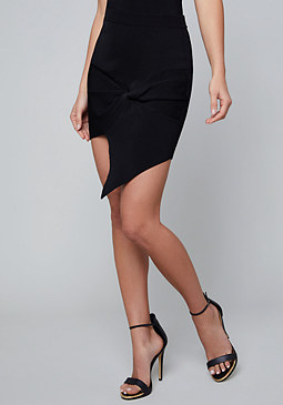 bebe Shay Ribbed Twist Skirt