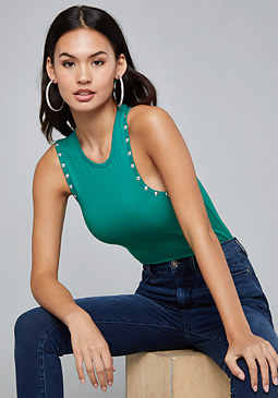 bebe Studded Knit Top