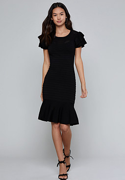 bebe Ruffle & Mesh Dress
