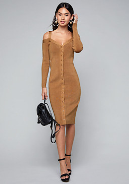 bebe Ribbed Sweater Midi Dress