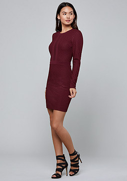 bebe Mesh Block Mini Dress
