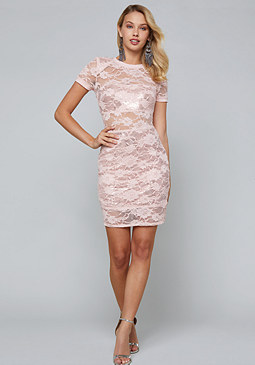 bebe Sequin & Lace Tee Dress