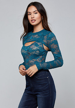 bebe Lace Long Sleeve Top