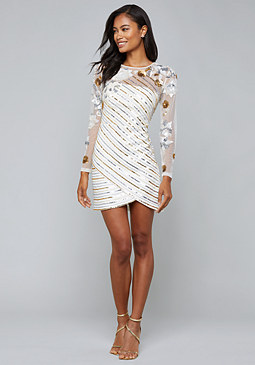 Sequin Stripe Mini Dress at bebe