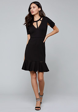bebe Lattice Detail Flared Dress