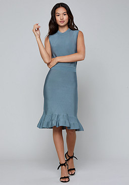 bebe Fit & Flare Pointelle Dress