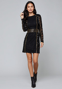Sequin & Stud Mini Dress at bebe