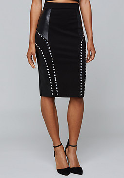 bebe Mixed Pencil Skirt