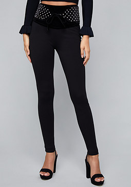 bebe Quilted Waist Leggings