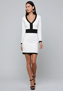 bebe Colorblock V-Neck Dress