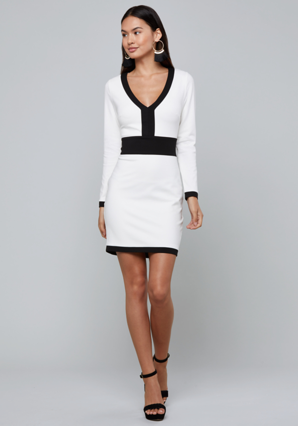 Colorblock V-Neck Dress | Tuggl