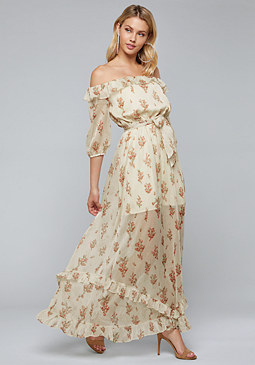 bebe Bare Shoulder Maxi Dress