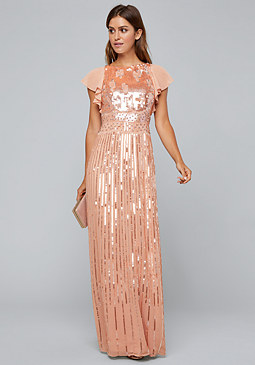 Sequin Flutter Sleeve Gown at bebe