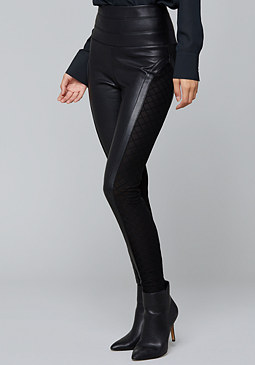 bebe Faux Leather Mesh Leggings