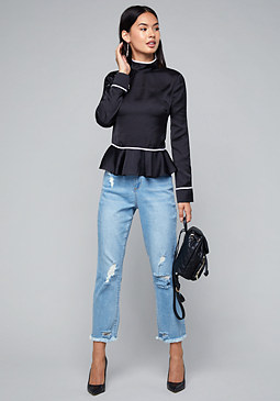 bebe Back Button Peplum Top
