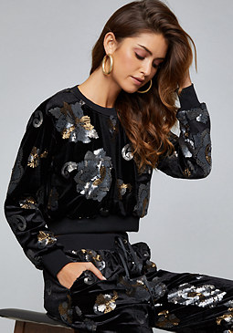 bebe Sequin Velvet Crop Top