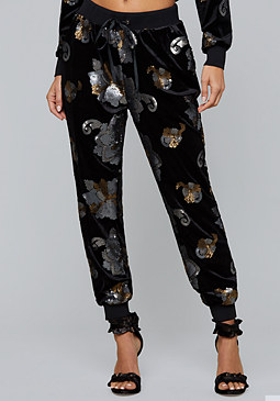 bebe Sequin Velvet Sweatpants