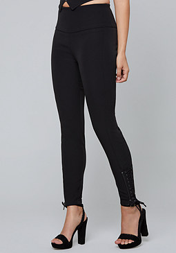 bebe High Rise Lace Up Pants