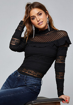 bebe Mixed Lace Top