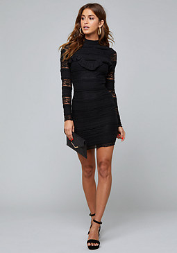 bebe Mixed Lace Mock Neck Dress