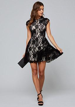 Bebe Velvet Lace Flared Dress