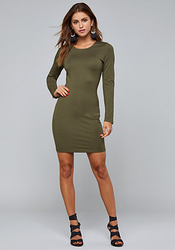 bebe Ponte Long Sleeve Dress