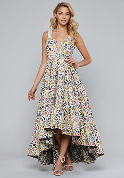 bebe Jacquard Ruffled Ball Gown