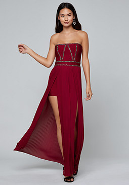 bebe Strapless Pleated Gown