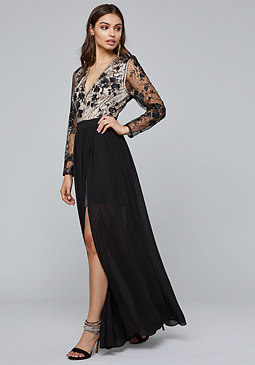 bebe Embroidered Slit Gown
