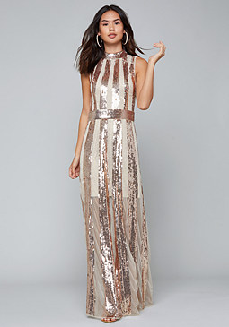 bebe Sequin Stripe Gown