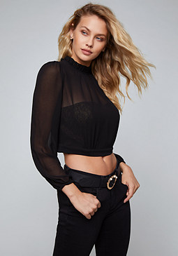 bebe Sheer Overlay Bustier Top