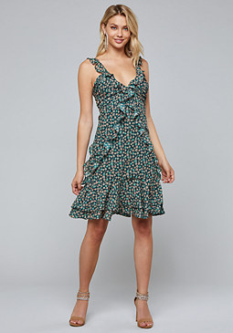 bebe Print Ruffled Dress