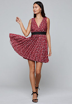 bebe Print Pleated Mini Dress