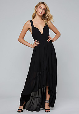 bebe Chiffon Hi-Lo Maxi Dress