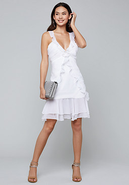 bebe Allover Ruffles Mini Dress