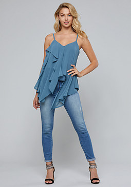 bebe Draped Tunic Top