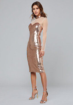 bebe Rose Gold Sequin Midi Dress