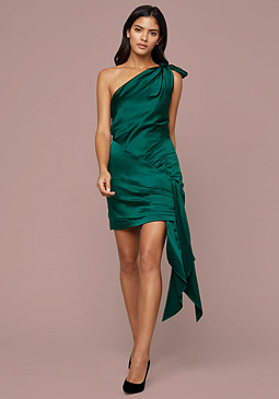 bebe Tie One Shoulder Mini Dress