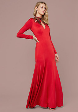 bebe Embellished Mock Neck Gown