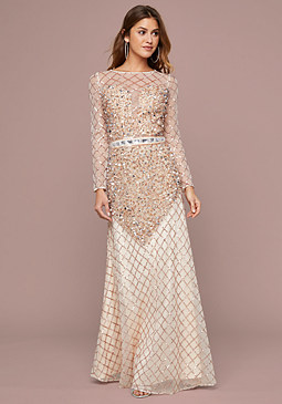 bebe Embellished Illusion Gown