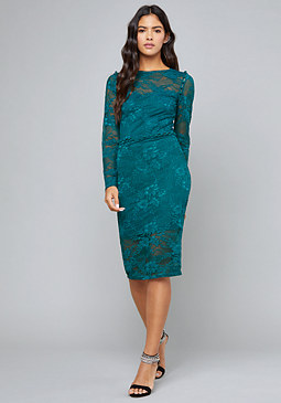 bebe Button Trim Lace Midi Dress