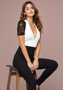 bebe Lace Puff Sleeve Jumpsuit