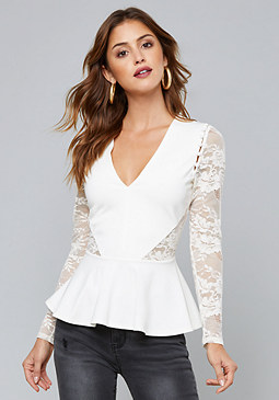 bebe Eliana Lace Detail Top