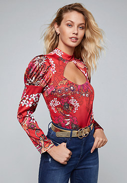 bebe Jasmine Bubble Shoulder Top