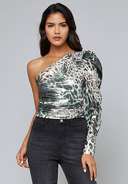 bebe Jeweled One Shoulder Top