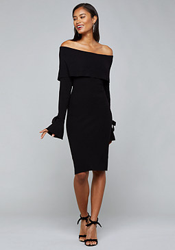 bebe Ribbed Off Shoulder Dress