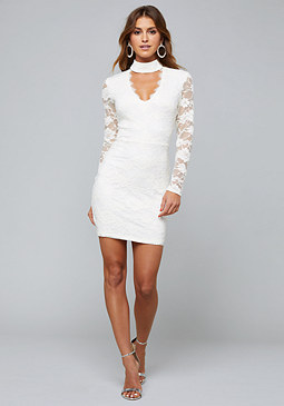 bebe Mya Lace Mock Neck Dress