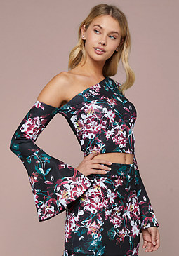 bebe Raelyn Print Scuba Crop Top